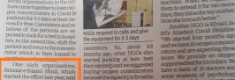 Times of India Pune, about JIH efforts for providing oxygen to the needy
